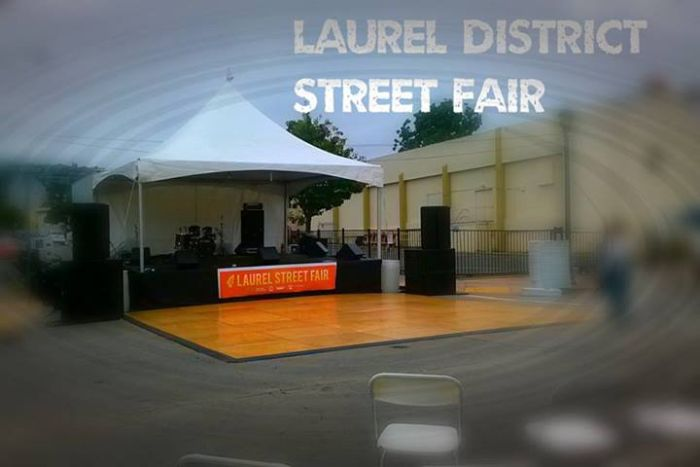 Outdoor Street Fair Stage with 20 x 20 ft Tent