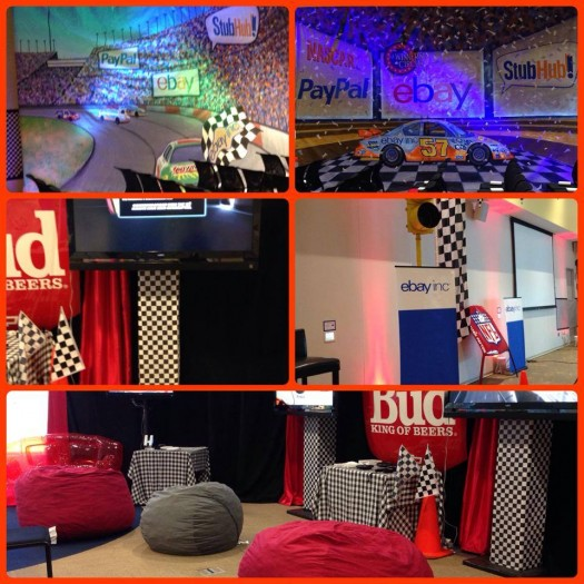 Props And Custom Backdrops Used For An Auto Racing Themed Event